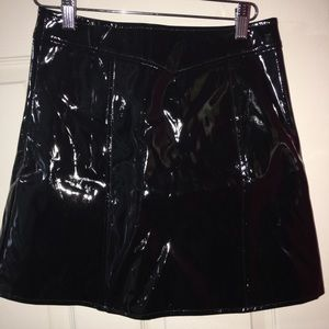 LF Skirts - LF stores black leather skirt with circle zipper